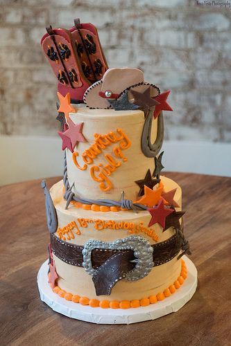 """Country Girl (Tiered Cake) """"I feel like I'm big time now because one of my cakes was on Pinterest uploaded by a coworker!"""" LOL"""