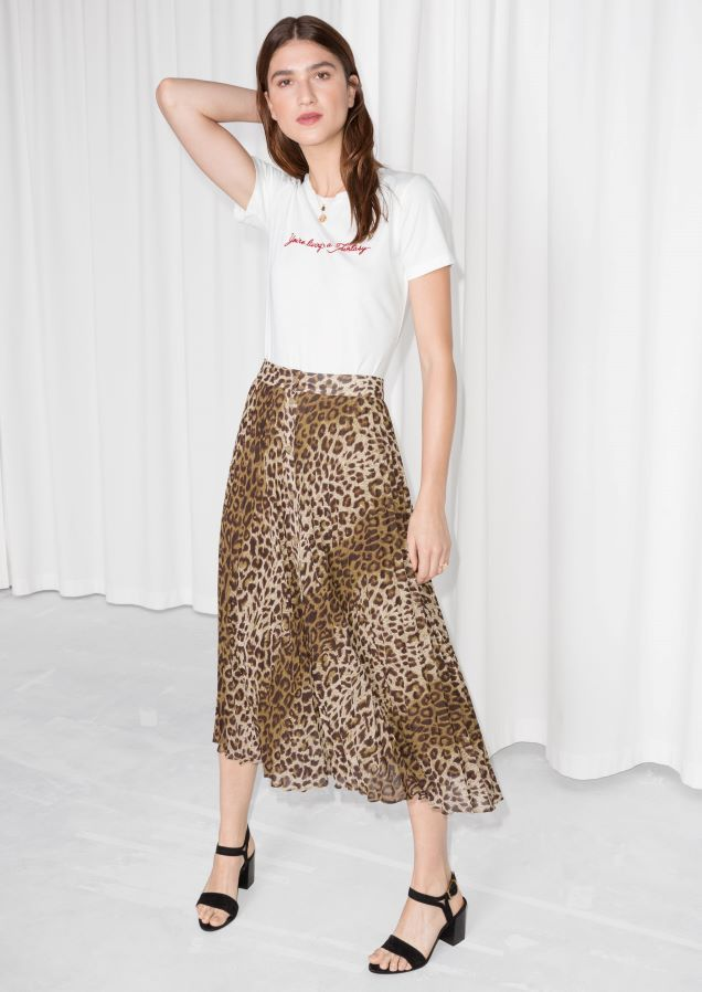 2d032ea9da & Other Stories image 1 of Leopard Pleated Skirt in Leopard Print ...