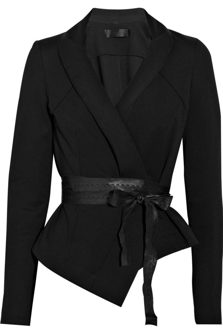 Donna Karan|Belted structured jersey jacket|NET-A-PORTER.COM