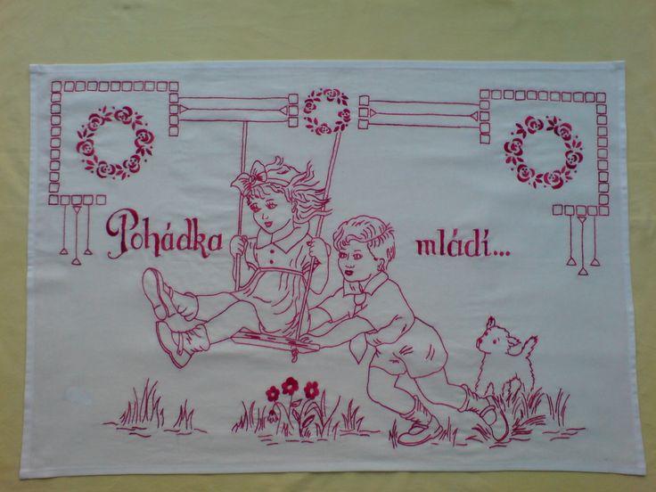 Vyšívaná kuchařka Ručně vyšívané bavlněné plátno bílé k pověšení na zeď, rozměr cca 80x60 cm