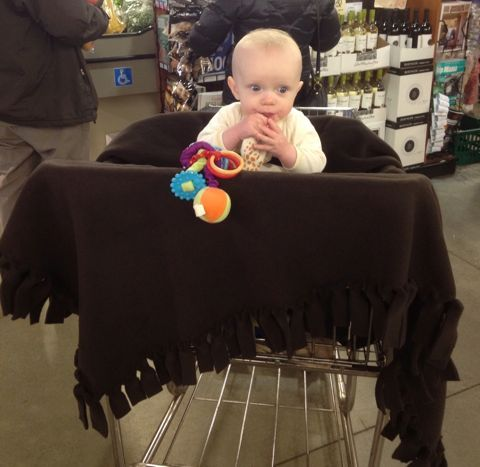 shopping cart cover   uses fleece, there is NO SEWING INVOLVED. It also does double duty as a highchair cover. Yippee and Yahooo!