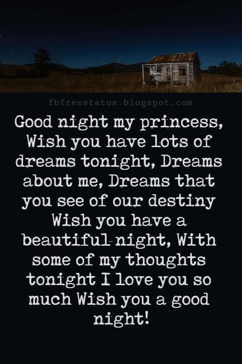 good night poems for her good night my princess wish you have lots of dreams tonight dreams about me dreams that you see of our destiny wish you have a