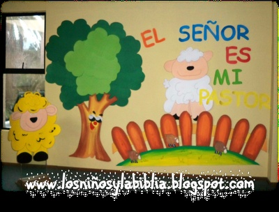 Los niños y la Biblia: salmo 23  good wall mural idea.  the whole site has good ideas.