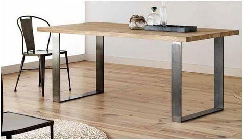 Mesa de comedor OAK 160 cm - ROBLE MACIZO - Patas Acero