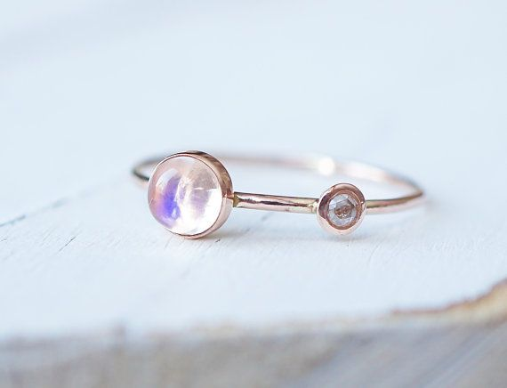 Diamond Ring Blue Moonstone Ring Engagement Ring Rose by Luxuring