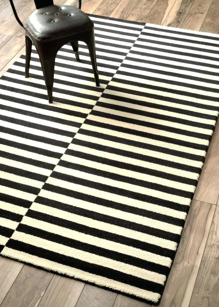 Glorious Black And White Striped Rug 8x10 Arts Ideas Black And
