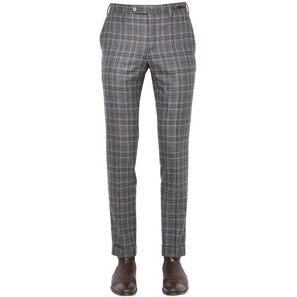 Pt01 Men 18cm Evo Fit Plaid Brushed Wool Pants (13.765 RUB) ❤ liked on Polyvore featuring men's fashion, men's clothing, men's pants, men's dress pants, grey, mens grey wool pants, mens flat front pants, mens slim pants, mens slim dress pants and mens gray pants