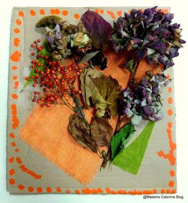 Maestra Caterina: Quadro autunnale - composizione di fiori e foglie