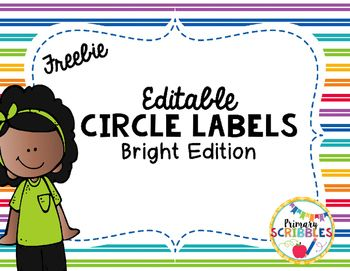 Editable Circle Name Plates, Tags, and Labels for cubby tags, name tags, focus wall, and much more.