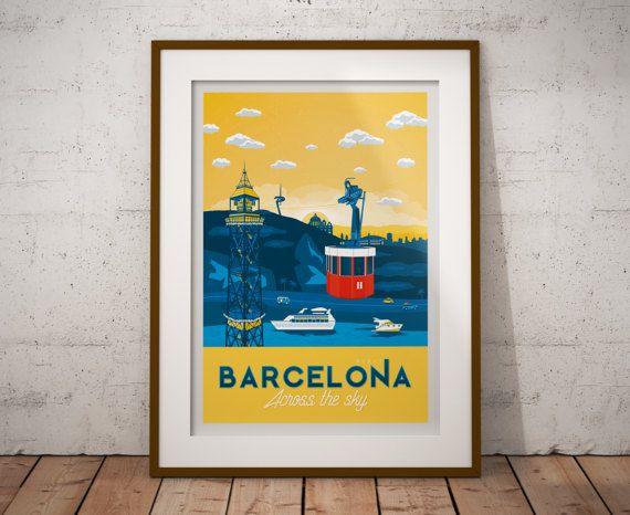 Retrouvez cet article dans ma boutique Etsy https://www.etsy.com/fr/listing/498707506/travel-poster-barcelona-across-the-sky