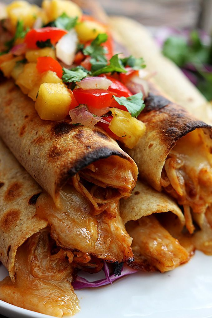 | Slow Cooker Hawaiian BBQ Chicken Taquitos |
