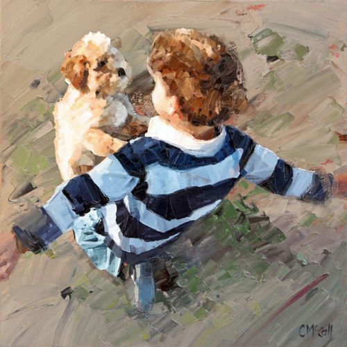 """""""What one loves in childhood stays in the heart forever."""" Mary Jo Putney  'Best Friends' painting by Claire McCall"""