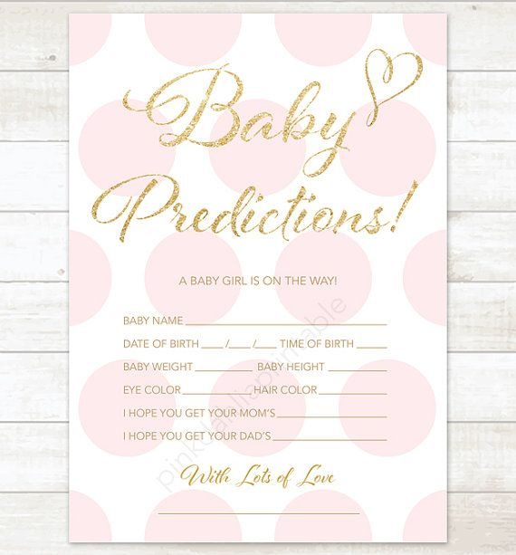 baby prediction card pink polka dots baby by pinkdahliaprintable