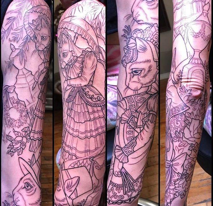 Cat sleeve by Kim Saigh at Memoir Tattoo