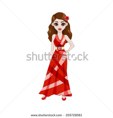 Posing Girl Wearing a Red Dress. Vector character