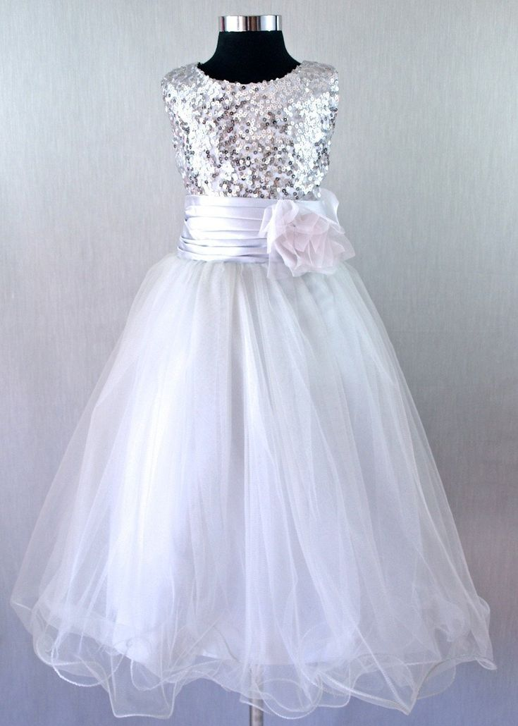 Sienna girls dress in silver. Ages 2-8. www.poshtots.com.au