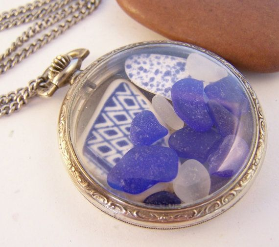 Vintage pocket watch case filled with sea glass and sea pottery. Gorgeous pendant necklace for the beach lover!  Stone Street Studio