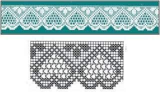 Hobby lavori femminili - ricamo - uncinetto - maglia: bordure cuore
