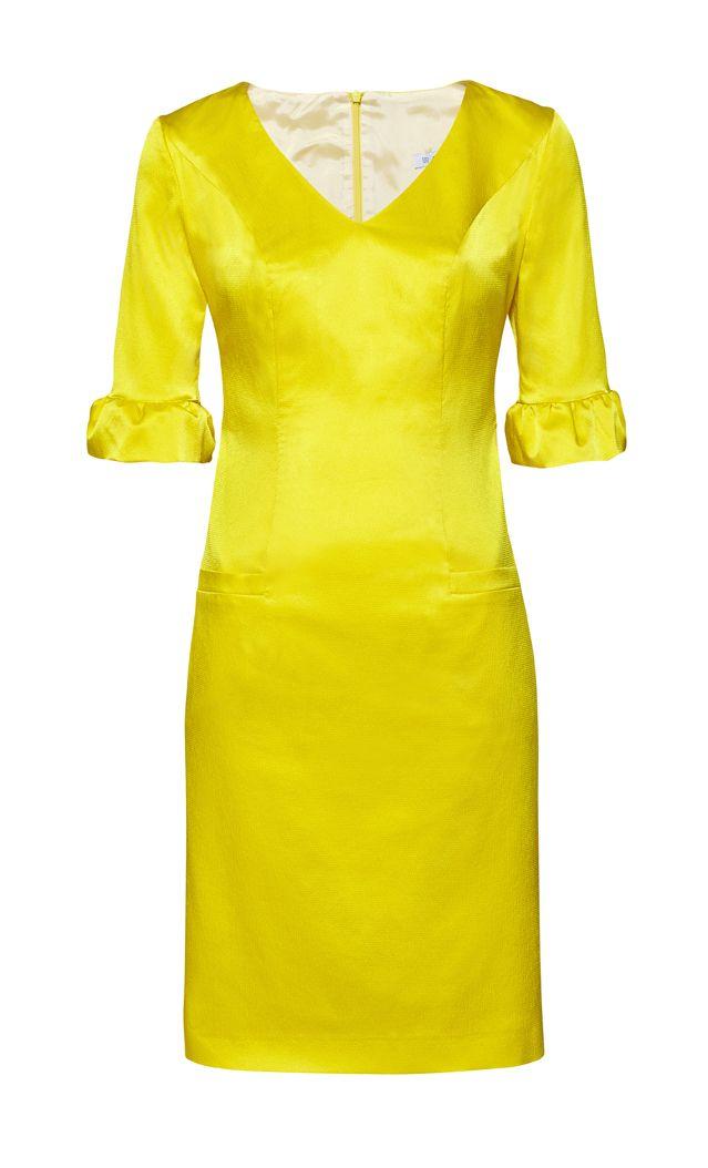 Dopasowana sukienka w odcieniu słonecznej żółci ARYTON wiosna-lato 2014
