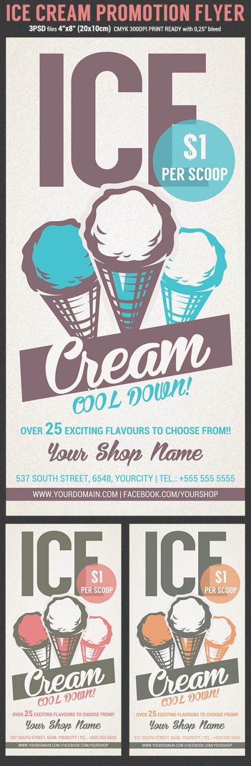 Ice Cream Shop Promotion Flyer Template preview 108 best Flyer Inspiration images on