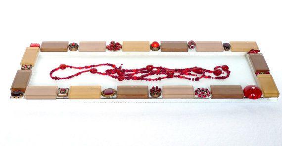 Mosaik Holz Tablett Kerzentablett Shabby Chic Schmuck von LonasART