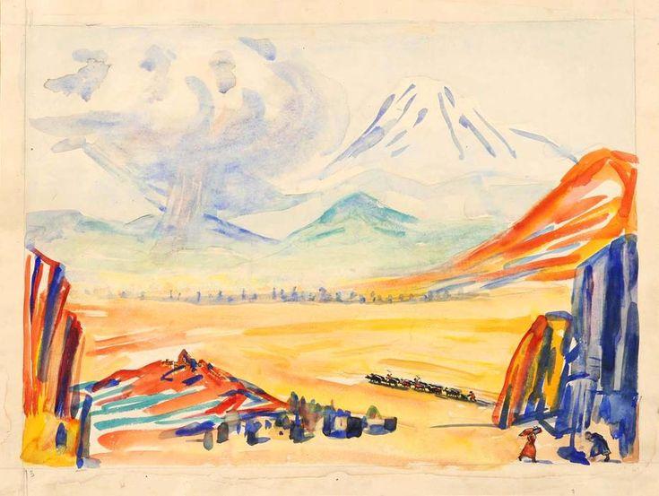 'Ararat, a study for 'Armenia'', Watercolour by Martiros Saryan (1880-1972, Russia)