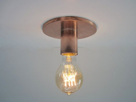 Copper Flush Mount Or Wall Sconce Light Industrial Lighting Copper Edison Lamp Exposed Bare Bulb Indoor Or Outdoor