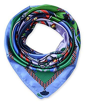 """corciova 35"""" Women's Neckerchief Satin Smooth Scarf for Hair Wrapping at Night Light Sky Blue $9.99 Free Shipping"""