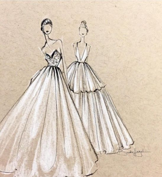 White charcoal bridal illustrations by fashion illustrator Brooke Hagel