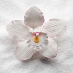 "Wholesale Sugar Flowers - 3"" Cymbidium Orchid - Small - White w/Pink (16 per box), $17.99 (http://www.wholesalesugarflowers.com/3-cymbidium-orchid-small-white-w-pink-16-per-box/)"