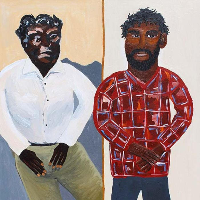 The great-grandson of Albert Namatjira is also taking the art world by storm but his style is markedly different.