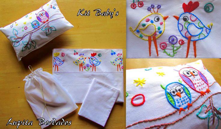 Kit Baby's- juego de sabana para bebes- Bordado a mano pedilo en www.facebook.com/LupitaBordados