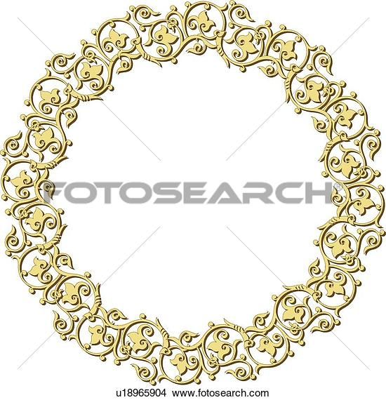 Иллюстрации декоративного круглого желтого узор листа Арабеск рамка u18965904 - Поиск по темам, иллюстрация Фреска, рисунки и векторная EPS графических изображений - u18965904.eps