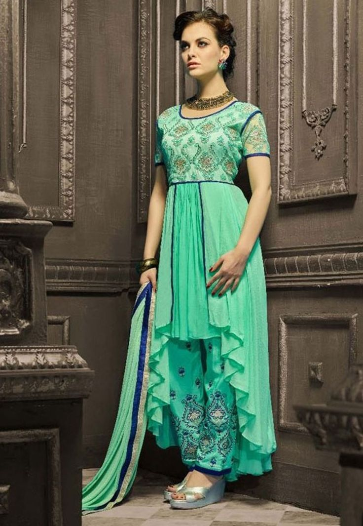 """""""Why nowadays there's a new #fashion every day."""" """"Shop""""#Aqua #Color Faux #Gerogette #Designer #Anarkali #Salwar #Kameez"""
