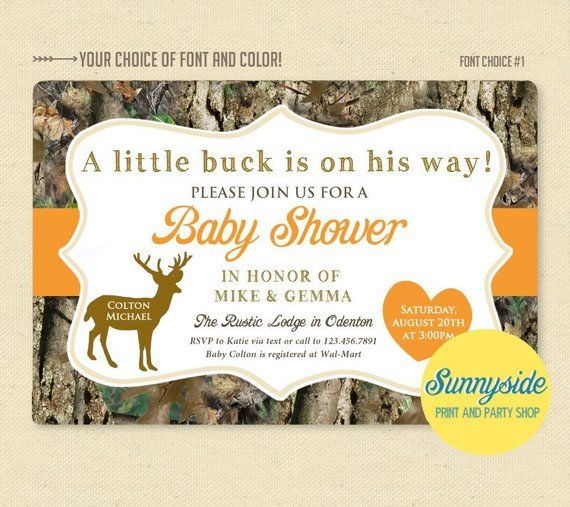 Camo Buck Printable Baby Shower Invitation With Orange For Baby
