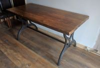 Vintage Industrial style reclaimed 5ft pine dining table on cast iron legs