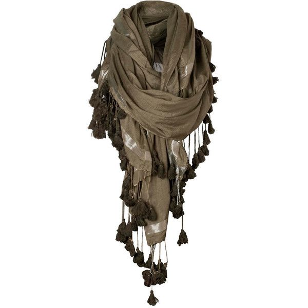 Bedouin Scarf ($65) ❤ liked on Polyvore featuring accessories, scarves, brown, lencos, sciarpe, metallic scarves, tassel scarves, allsaints, square scarves and metallic shawl