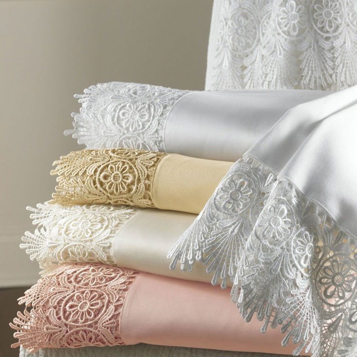 Ornate and beautiful sheets feature intricate lace---I love lacy sheets...so dainty and feminine.