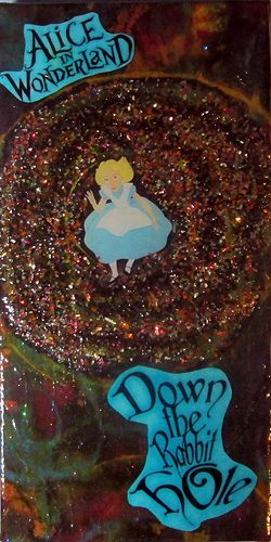 Alice Down The Rabbit Hole 12 x 6 canvas.Painted background,glass glitter and finished with Triple Thick Glaze by Deco-Art.