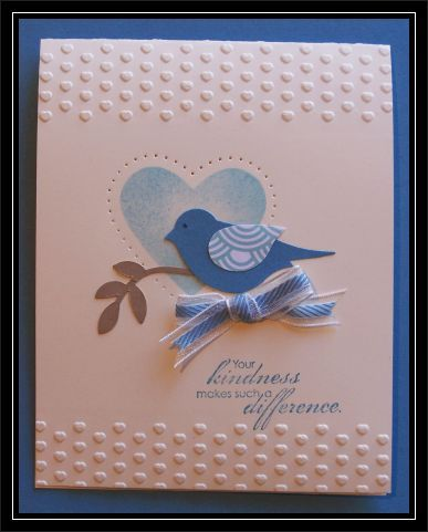 Sponged Heart Birdie - Queen by TrishG - Cards and Paper Crafts at Splitcoaststampers