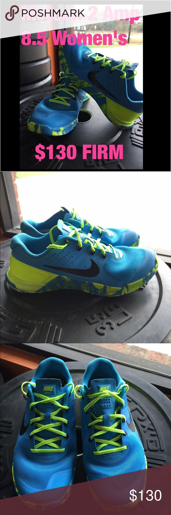 Nike Metcon 2 Crossfit shoes Nike Metcon 2 Amp. Women's size 8.5. Purchased brand new, wore them 2-3 times indoor gym only! No flaws! 1/2 size too big for me. Perfect for Crossfit training! Nike Shoes Athletic Shoes