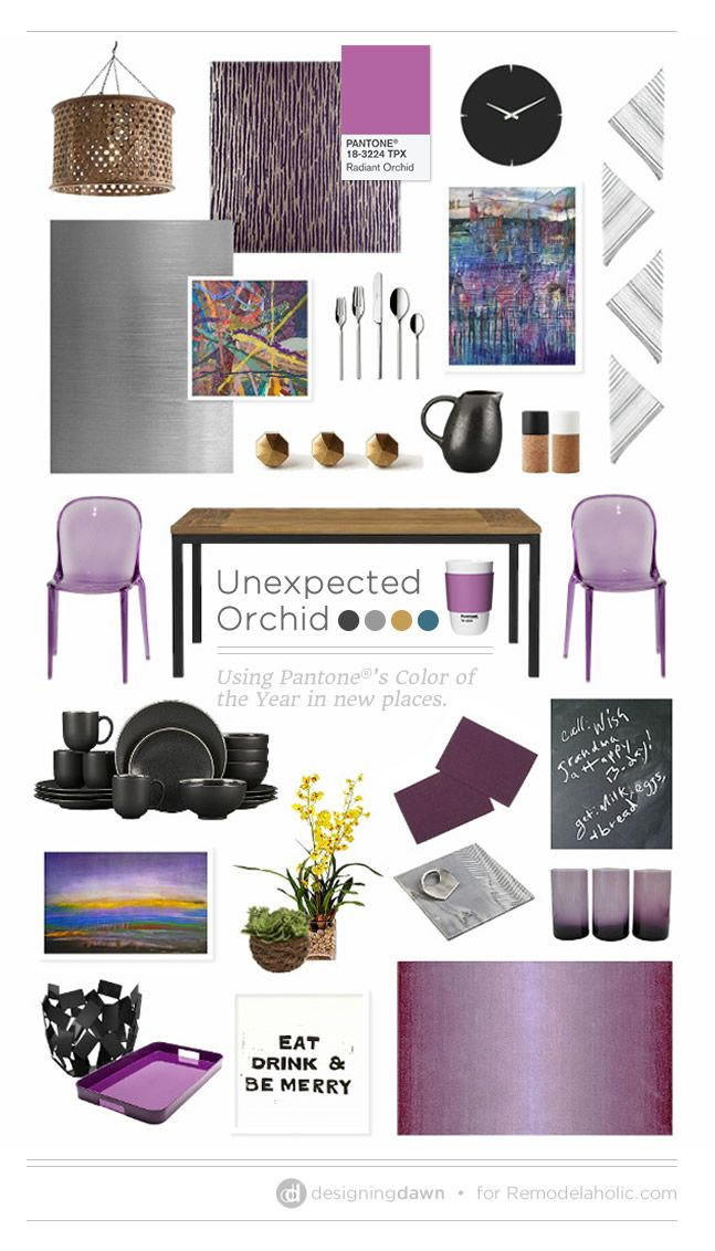 Unexpected Orchid - DesigningDawn for #Remodelaholic | Tips for Using Purples in the Kitchen and Dining Room