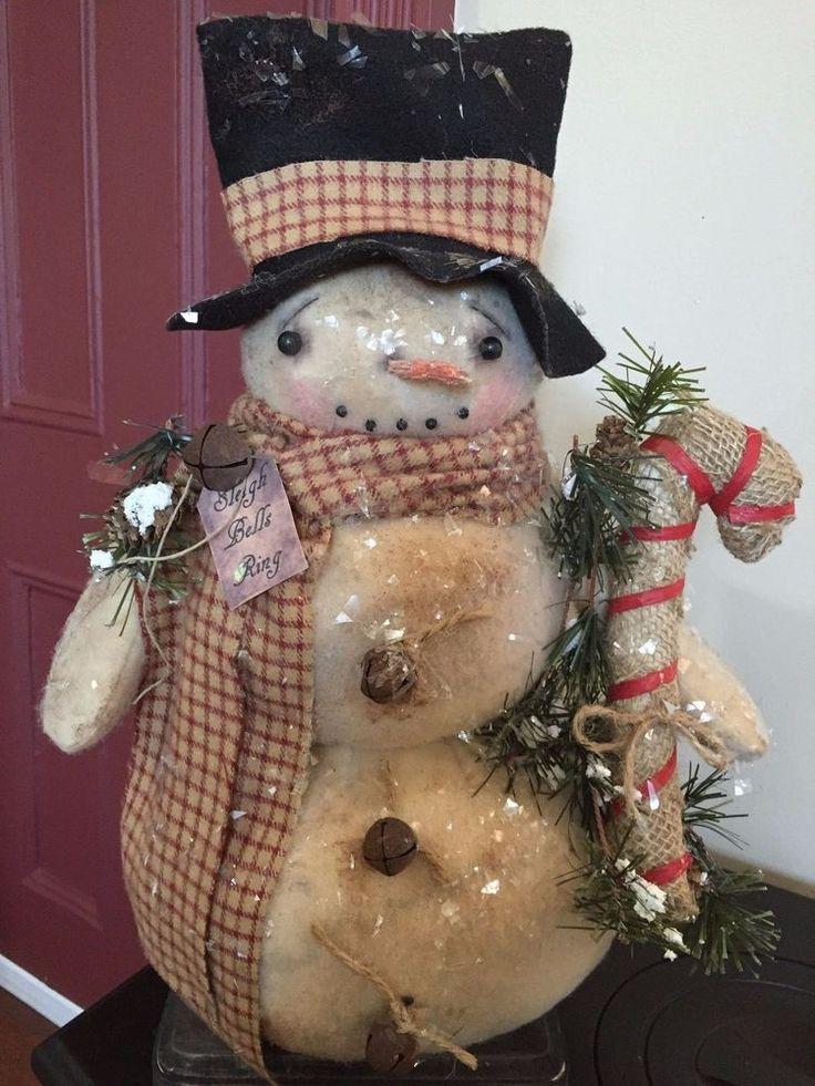 OOAK Primitive Folk Art Handmade Standing Snowman DollChristmas