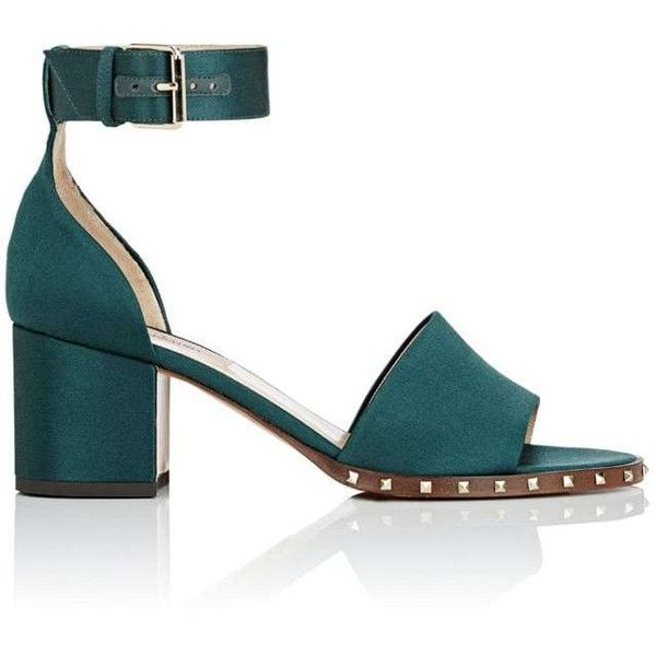 Valentino Garavani Women's Soul Rockstud Satin Sandals found on Polyvore featuring shoes, sandals, dark green, open toe sandals, valentino shoes, mid-heel sandals, studded shoes and ankle strap shoes