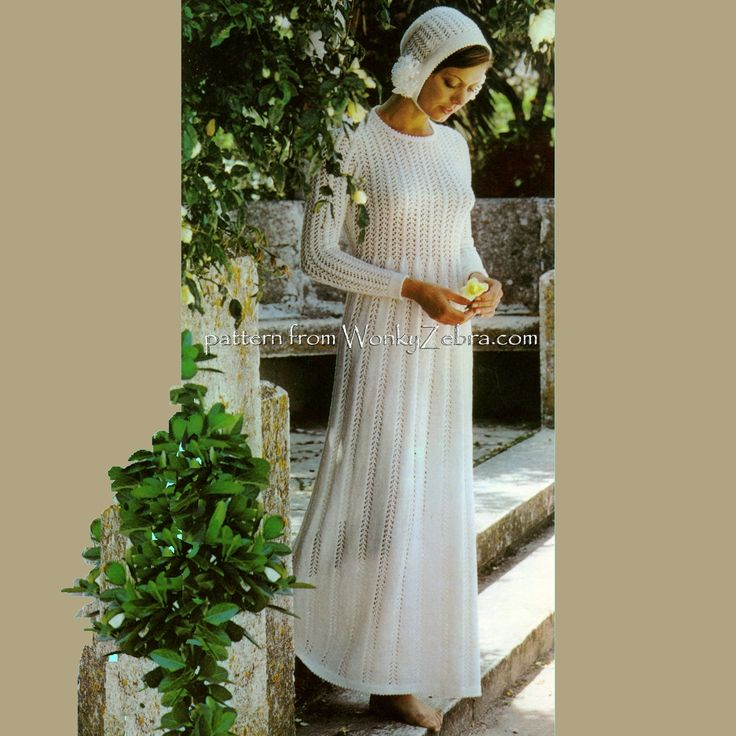 WZ623 A delicate knitted lace wedding dress with matching bridal bonnet. Pattern PDF623 from WonkyZebra.com