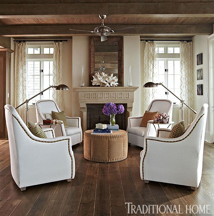 Four Grand Scale Verellen Linen Chairs Make A Perfect Conversation Area  Around A Drum Ottoman