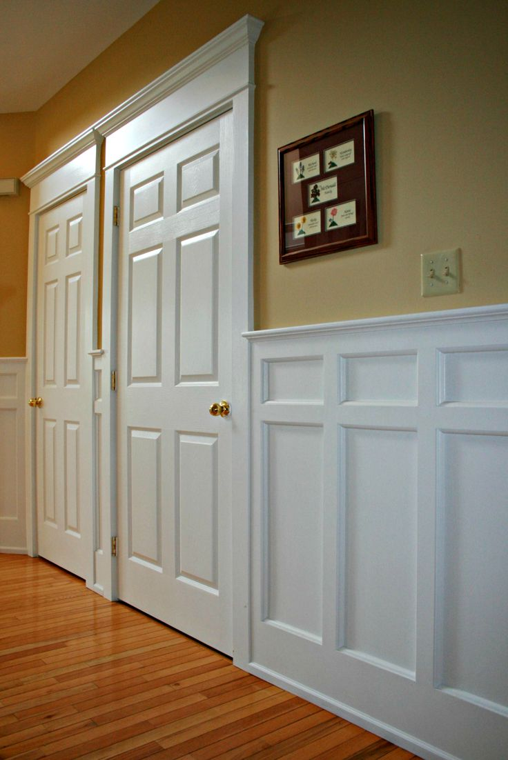 Mission style recessed panel wainscoting door casings arts for Dining room wainscoting ideas