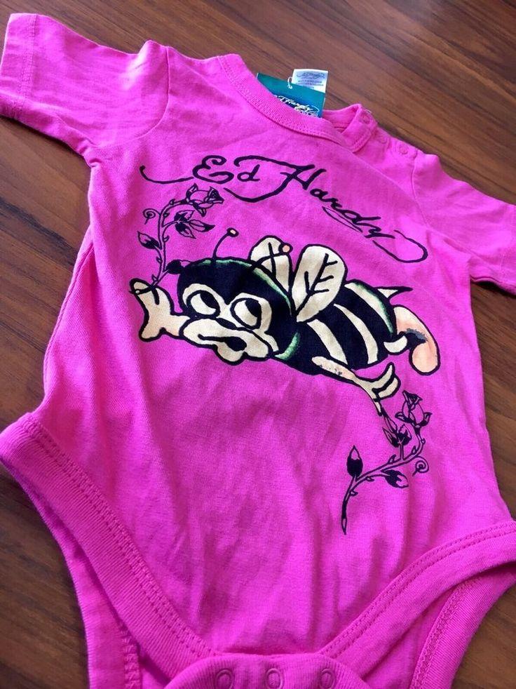 Ed Hardy Baby Misha Bee Pink Bodysuit Christian Audigier Size 9/12 Months NWT  | eBay