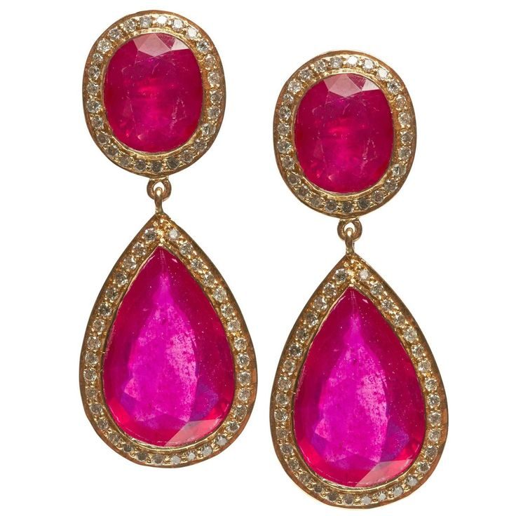 Jade Jagger Fine Double Ruby Earrings with Diamonds | 1stdibs.com
