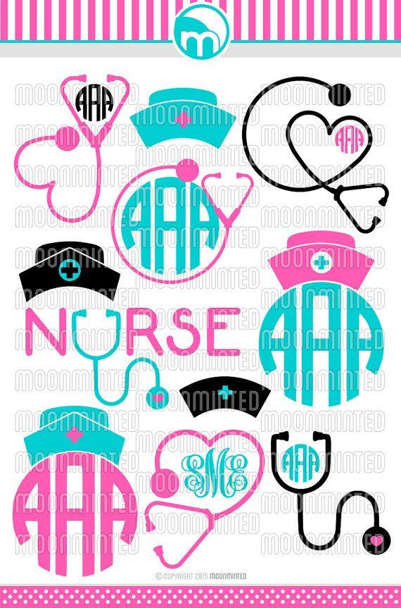 Nurse SVG Cut Files - Monogram Frames for Vinyl Cutters, Screen Printing, Silhouette, Die Cut Machines, & More
